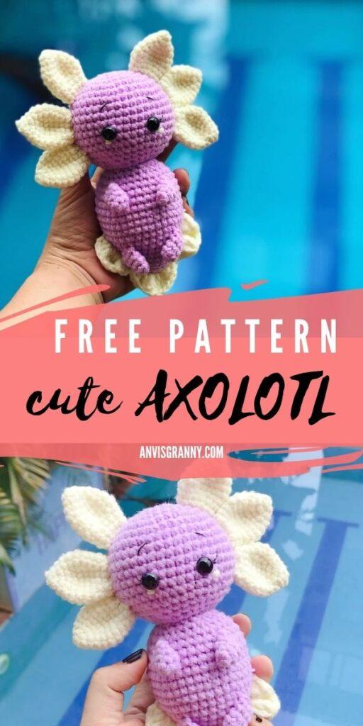 Amazing free crochet beginner pattern for amigurumi axolotl #anvisgranny #crochetpattern #amigurumipatttern #axolotlamigurumi #axolotl #crochetvideo #freepattern #amigurumifree