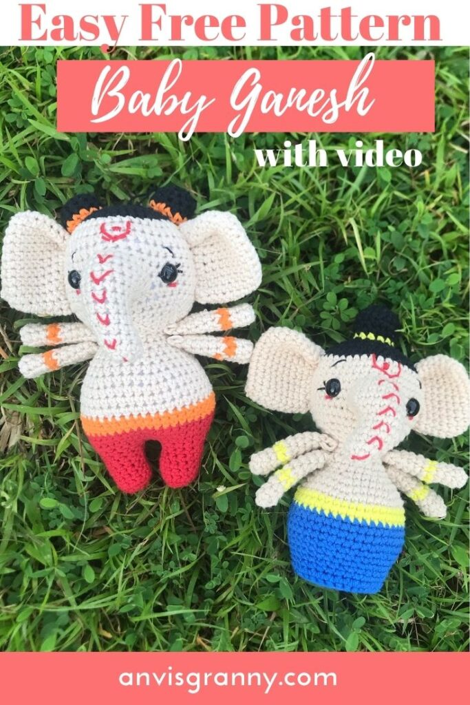 Baby Ganesh elephant god crochet free pattern for beginners