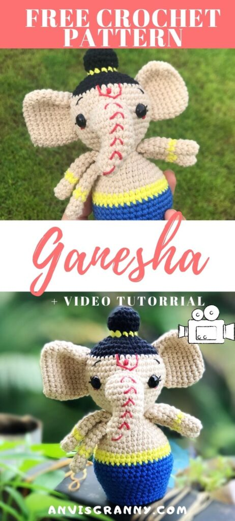 Free Lord Ganesha amigurumi doll crochet pattern with video tutorial