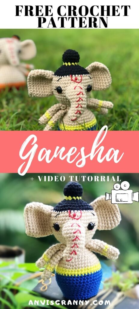 Ganesha free crochet pattern for beginners, Free Lord Ganesha amigurumi doll crochet pattern with video tutorial