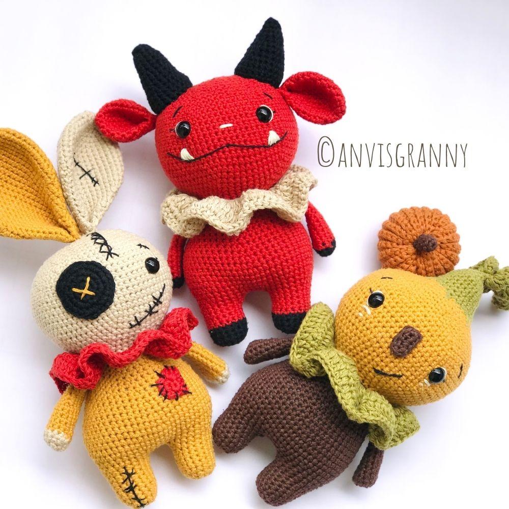 Halloween amigurumi crochet pattern bundle - devil, voodoo bunny, pumpkin doll (10)