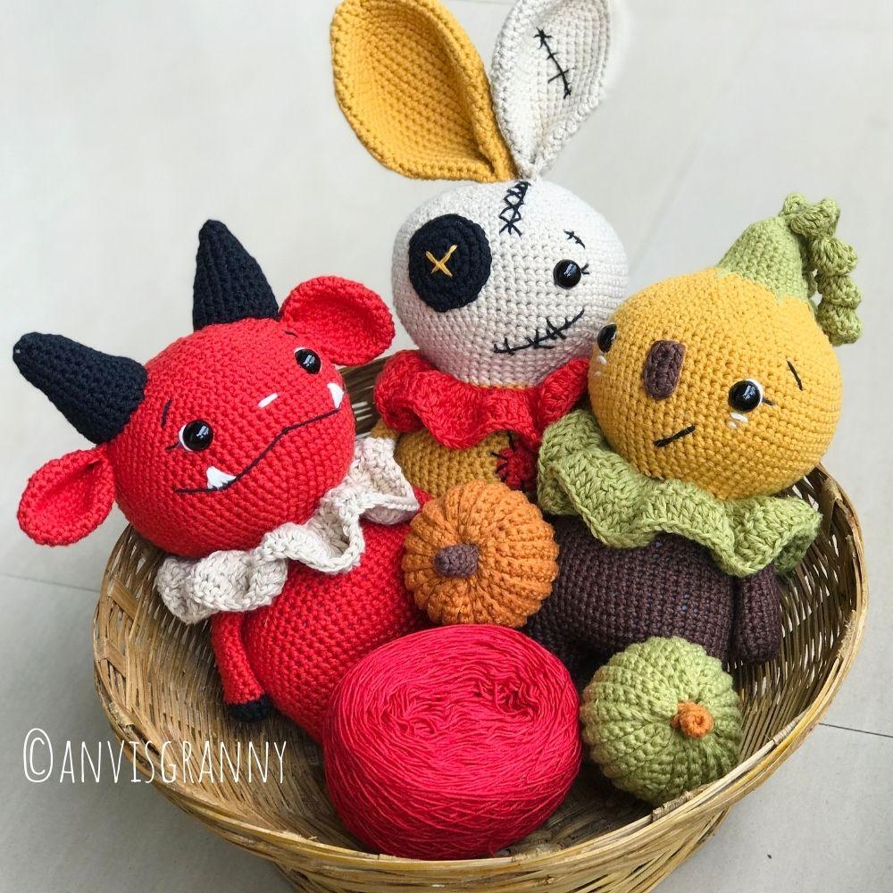 Halloween amigurumi crochet pattern bundle - devil, voodoo bunny, pumpkin doll (3)
