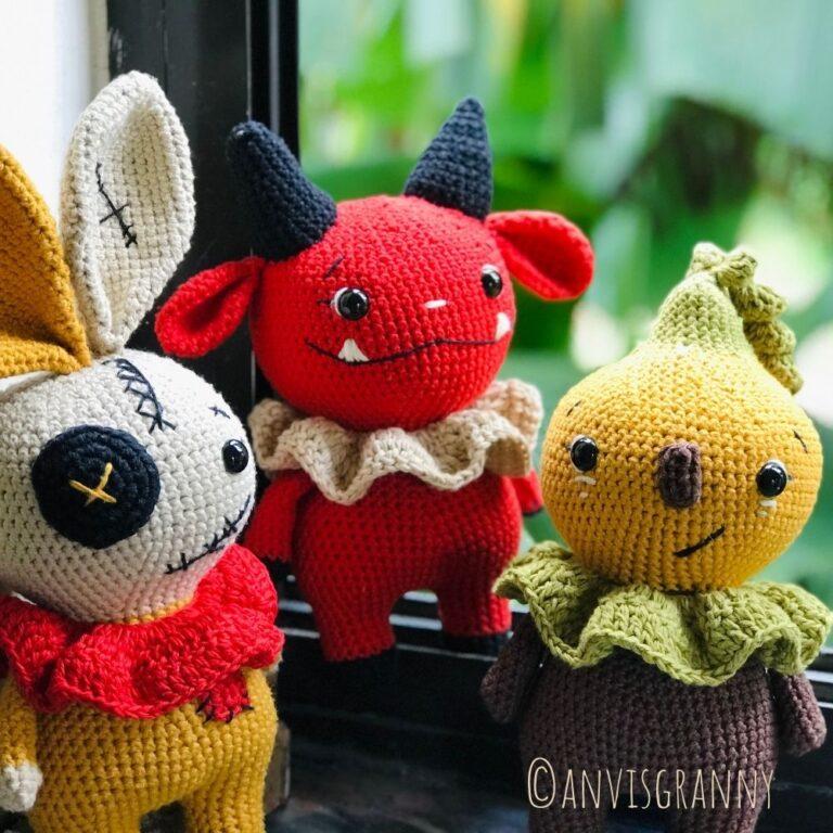 Halloween amigurumi crochet pattern bundle - devil, voodoo bunny, pumpkin doll (4)