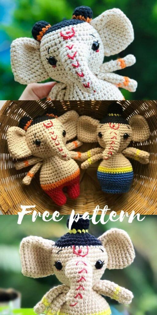 Lord Ganesha Ganpati amigurumi doll free crochet pattern and video tutorial