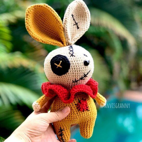 Crochet bunny voodoo amigurumi pattern for Halloween