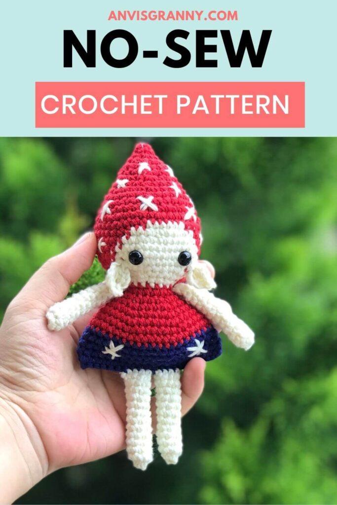 FREE crochet pattern for Christmas mushroom elf amigurumi