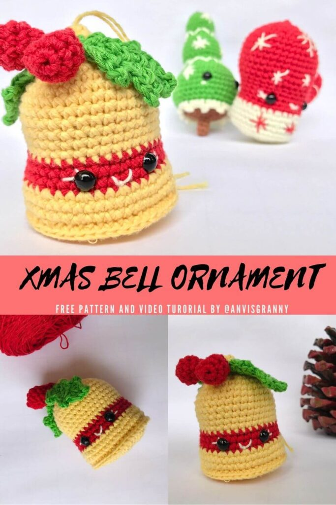 Crochet Christmas bells free pattern and video turotial for beginners