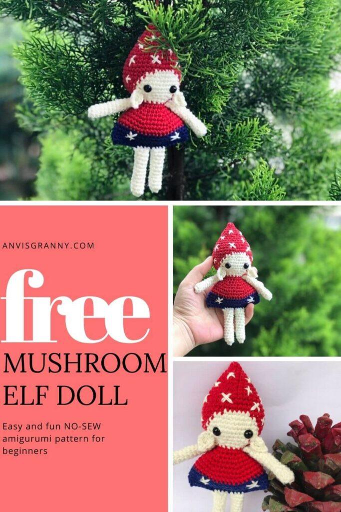 Free No-sew Christmas Mushroom Elf amigurumi pattern and video tutorial for beginners