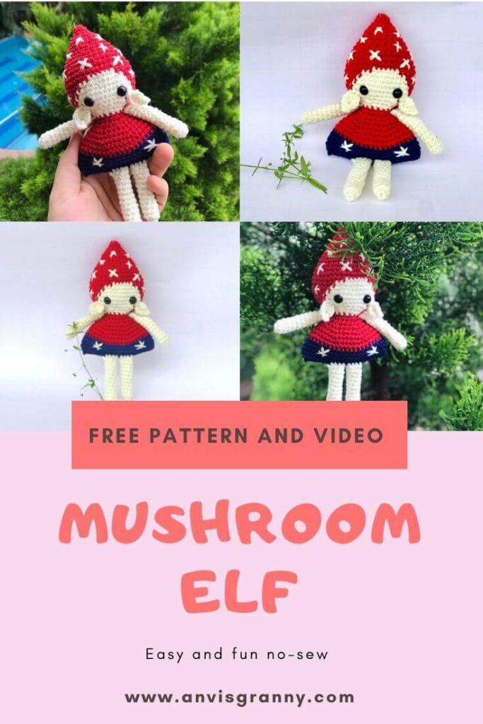 Free no-sew Christmas mushroom elf amigurumi crochet pattern and video tutorial for beginners