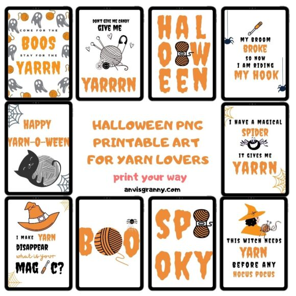 Halloween Printable Art – 10 Unique designs for yarn lovers