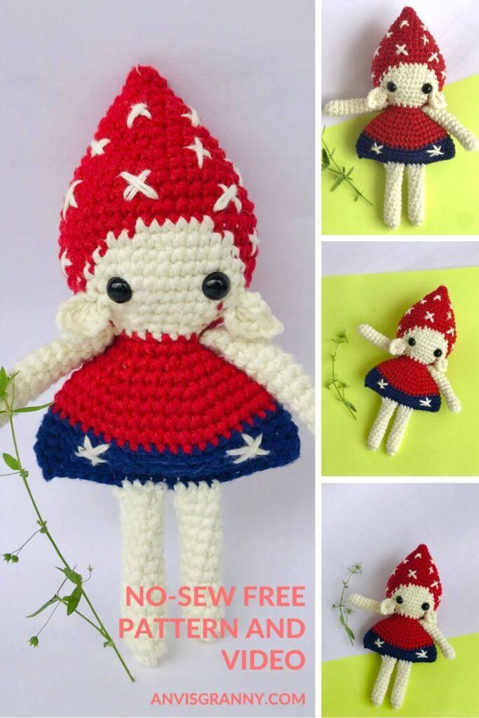 free no-sew Amigurumi Christmas Elf Doll crochet pattern for beginners