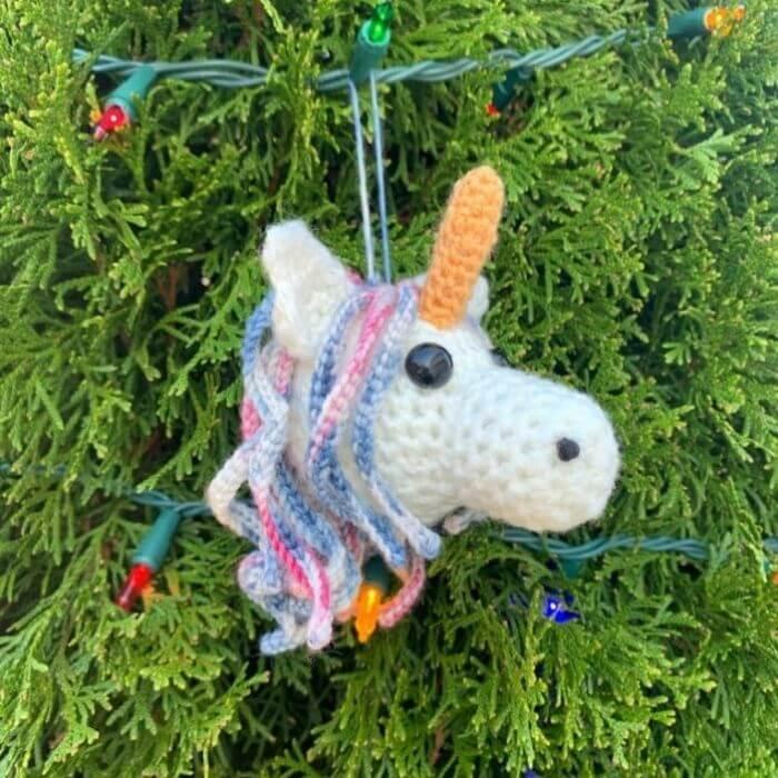Amigurumi Unicorn Ornament