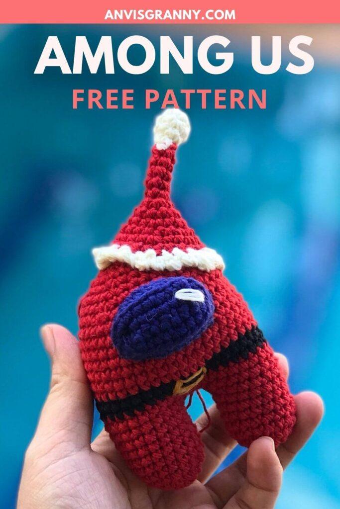 Among us Santa Amigurumi Christmas ornament crochet pattern