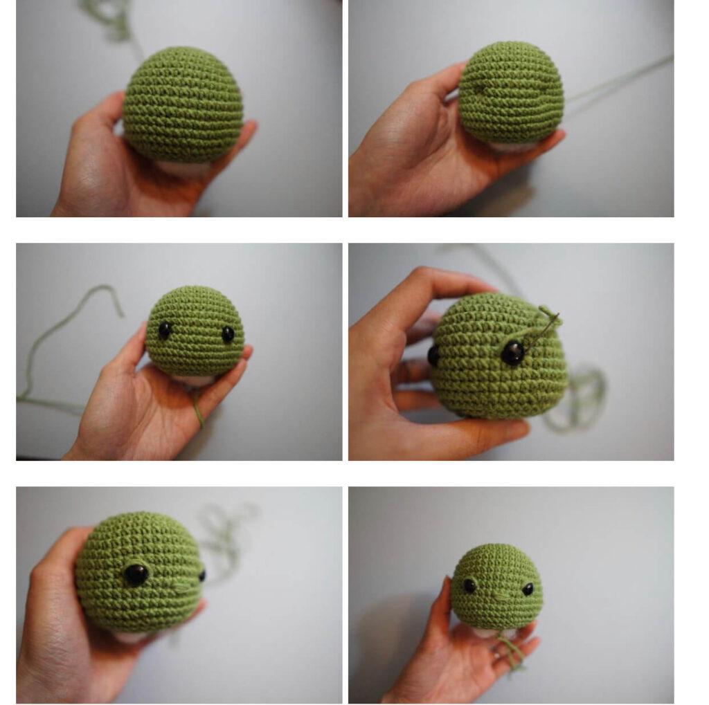 Head of baby yoda amigurumi crochet doll