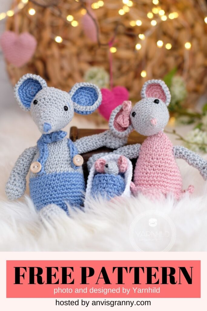 mouse family crochet pattern free for Valentine