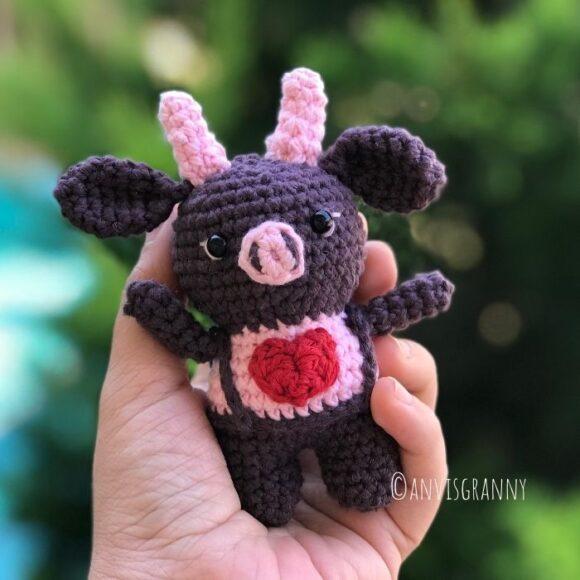 2021 Valentine crochet amigurumi bull crochet pattern