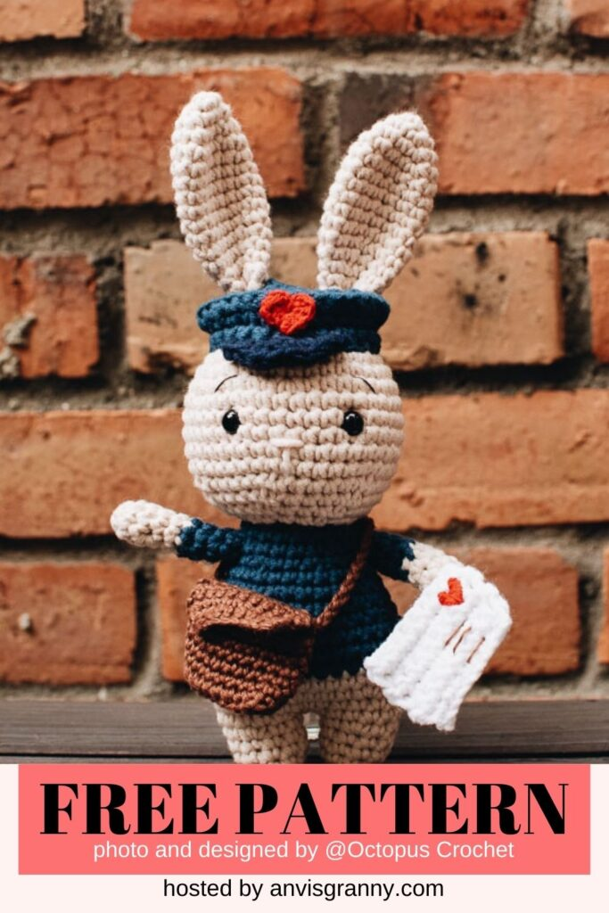 Jojo the mailman bunny free crochet pattern for Valentine
