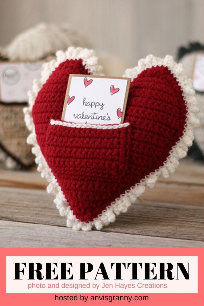 Crochet Heart Pillow free crochet pattern