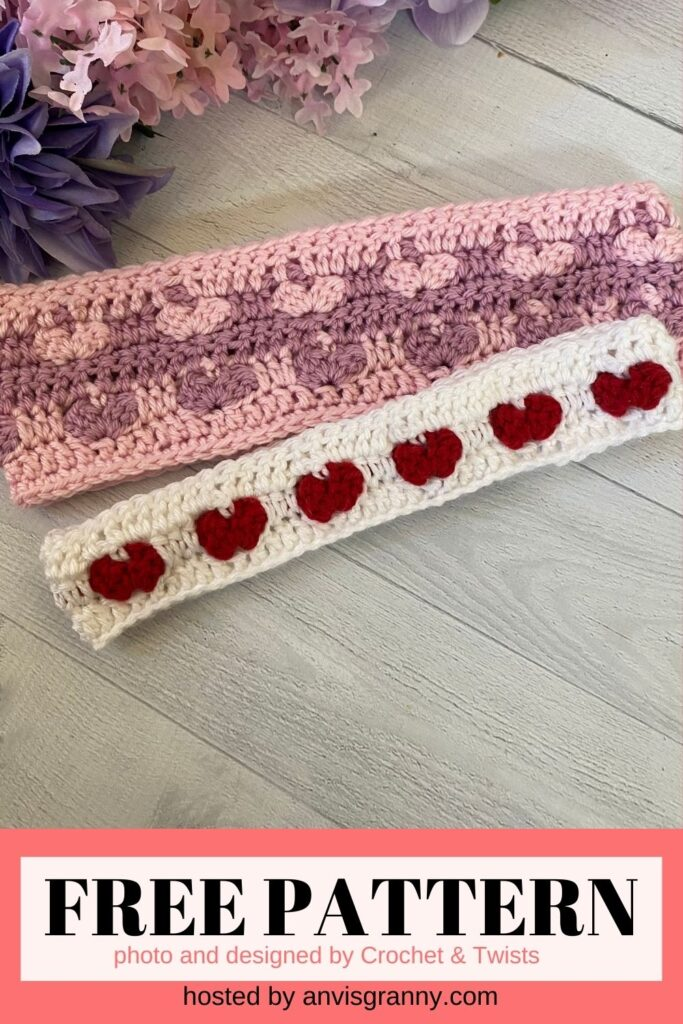 Hearts Headband free crochet pattern