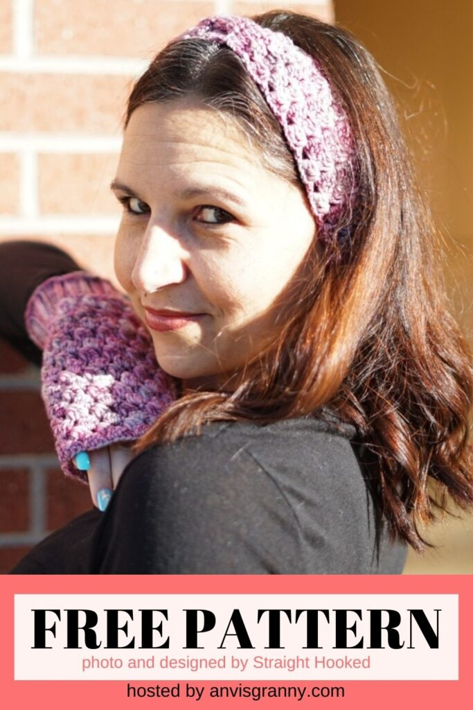 Ice Cap Fingerless Gloves and Headband free crochet pattern