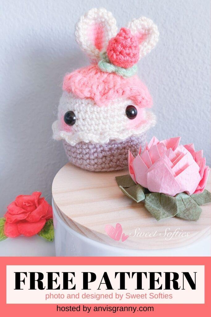 Bunny Rabbit Cupcake free crochet pattern