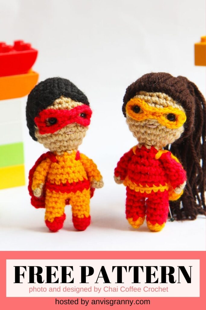 Mini Superhero Dolls amigurumi free crochet pattern