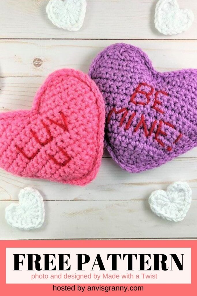 Conversation Heart Pillows free crochet pattern