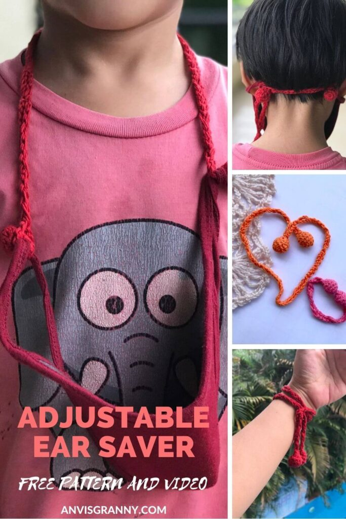 Free No-sew Multifunctional and adjustable face mask strap holder crochet pattern