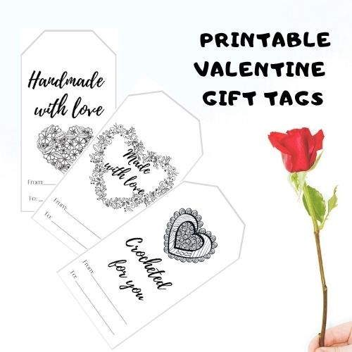 free handmade with love Valentine printable tag for handmade items