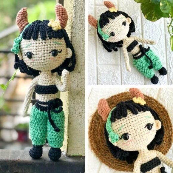 taurus zodiac doll amigurumi crochet pattern