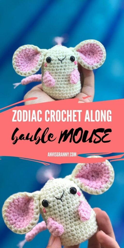 Chinese astrology mouse crochet along - free amigurumi pattern for beginners