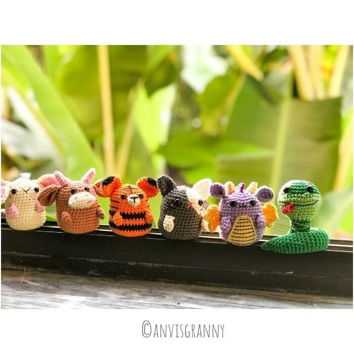 Zodiac rat, ox, tiger, bunny, dragon and snake crochet amigurumi patterns for beginners