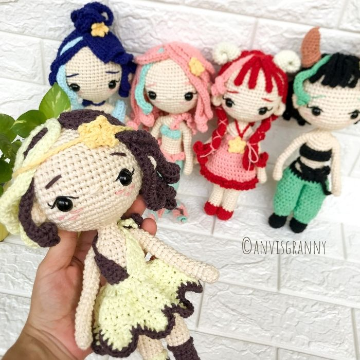 Crochet patterns for Zodiac crochet dolls: Aquarius, Pisces, Aries, Taurus, Gemimi