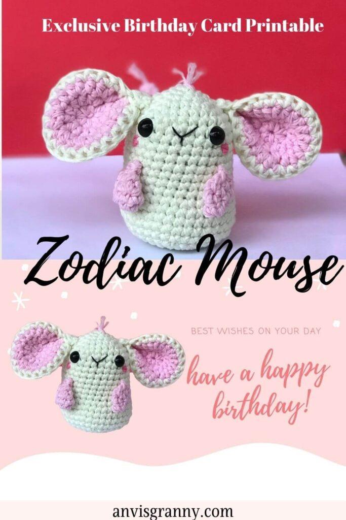 free zodiac mouse printable birthday card