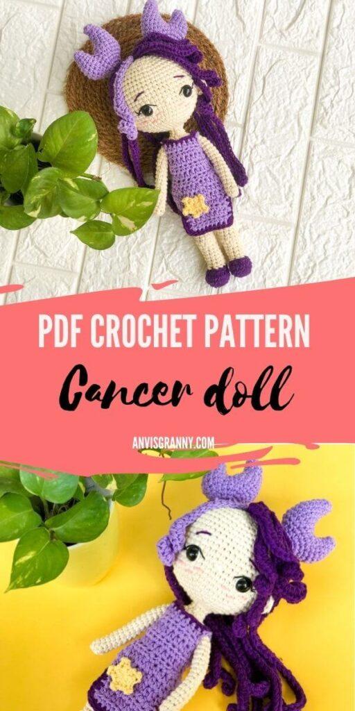 cancer zodiac amigurumi crochet doll pattern with 40+ detailed tutorial photos