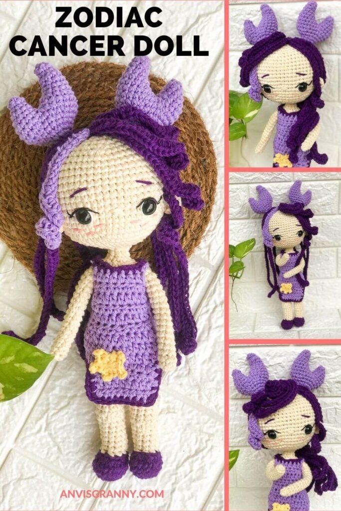 Cancer zodiac amigurumi doll crochet pattern