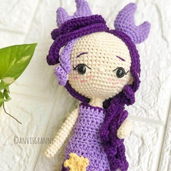 cancer zodiac crochet amigurumi doll pattern