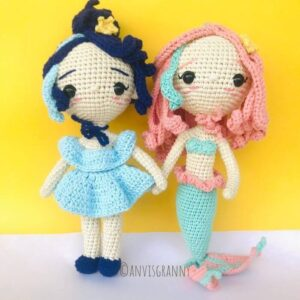 Pisces and aquarius zodiac amigurumi doll - mermaid crochet pattern