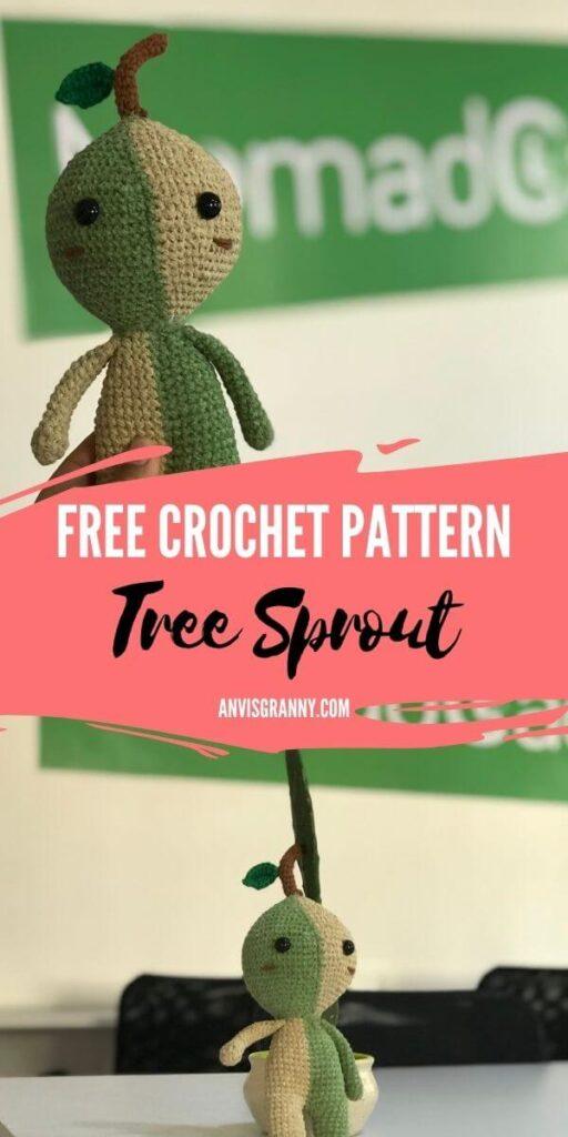 tree sprout amigurumi free crochet pattern