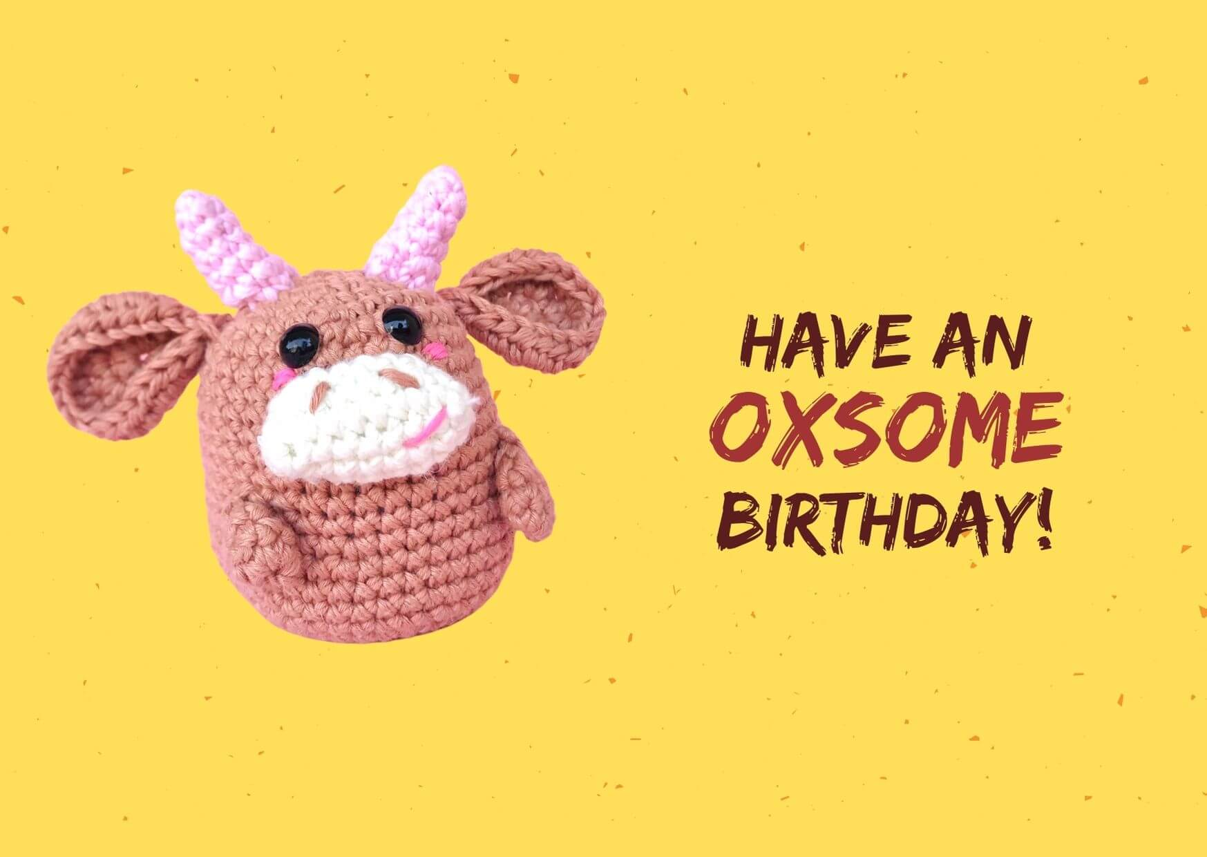 chinese zodiac amigurumi ox printable birthday card