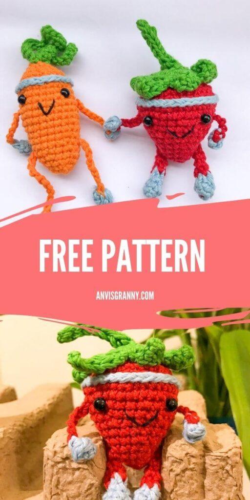 strawberry amigurumi crochet free pattern for beginners