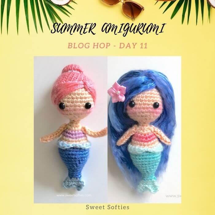 little mermaid doll amigurumi crochet keychain