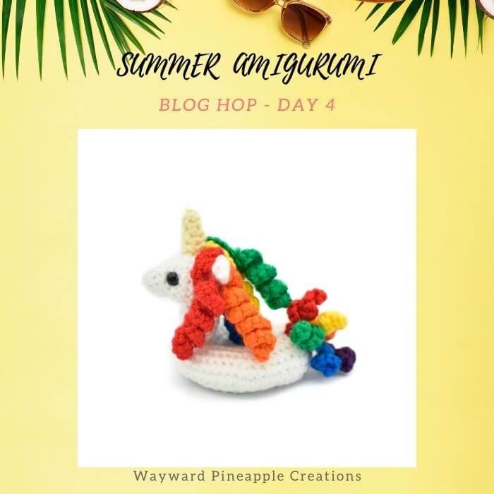unicorn float amigurumi crochet toy for summer