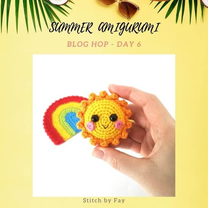 sun crochet amigurumi keychain