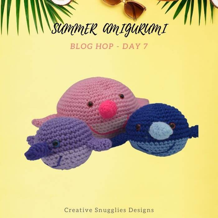 Narwhal family amigurumi crochet toy