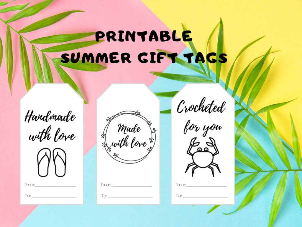 black and white printable handmade with love gift tag for summer season
