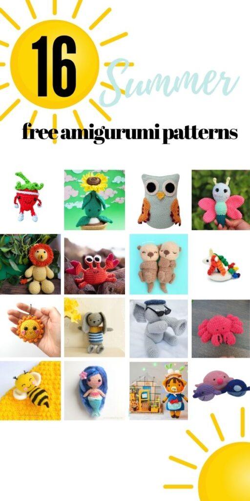 Cute summery free amigurumi crochet patterns for beginners
