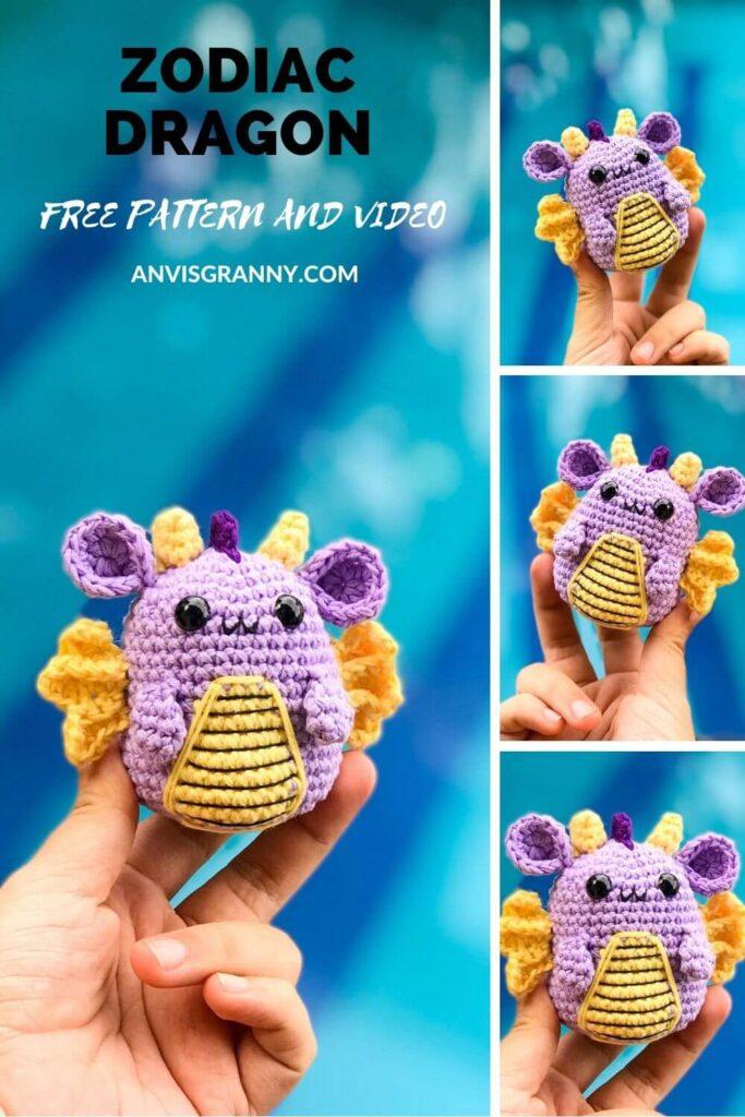 Free Zodiac Dragon amigurumi crochet pattern and video tutorial