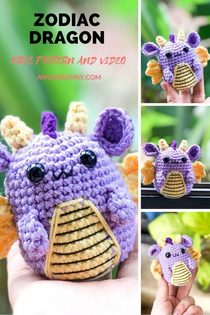 Free Zodiac Dragon amigurumi crochet pattern