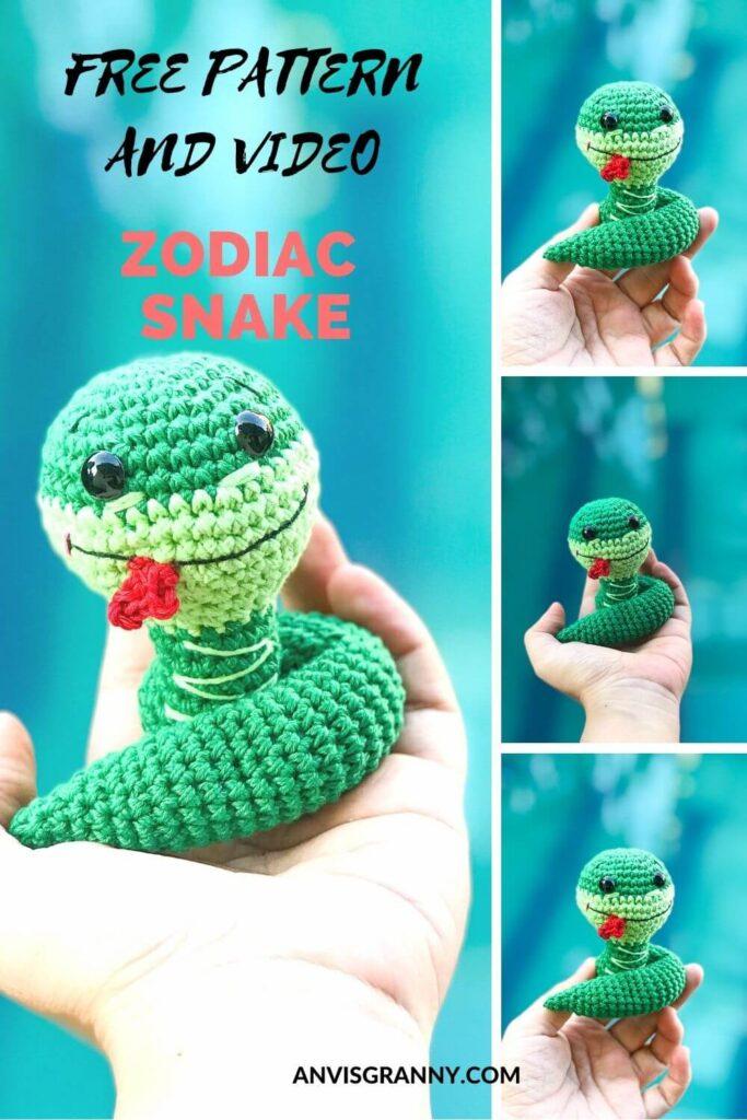 Chinese zodiac snake crochet amigurumi free pattern and crochet video tutorial for beginners